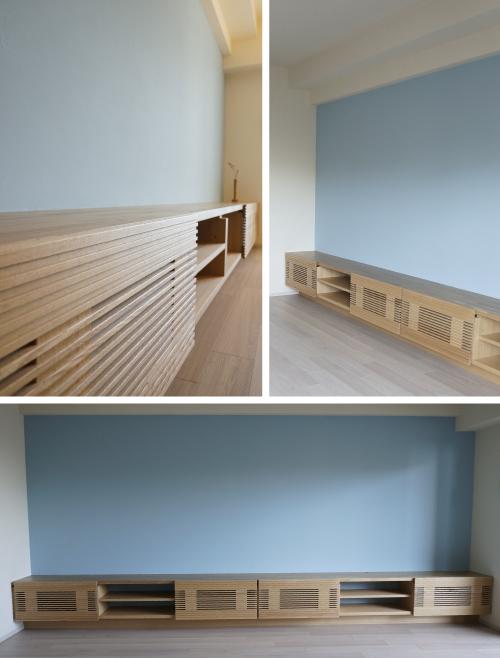壁一面漆喰塗り造り付け家具